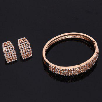 A Suit of Vintage Rhinestone Fret Necklace Bracelet Ring and Earrings For Women - ROSE GOLD