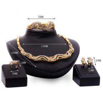 A Suit of Vintage Rhinestone Wave Necklace Bracelet Ring and Earrings For Women - GOLDEN