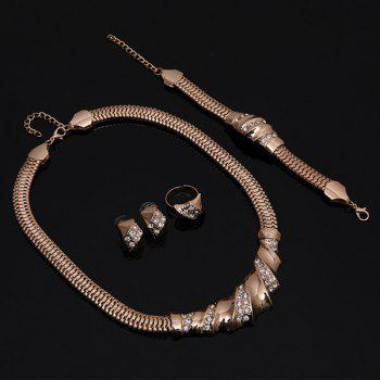 A Suit of Vintage Rhinestone Spliced Necklace Bracelet Ring and Earrings For Women - GOLDEN