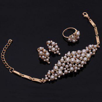 A Suit of Rhinestone Faux Pearl Necklace Bracelet Ring and Earrings - GOLDEN
