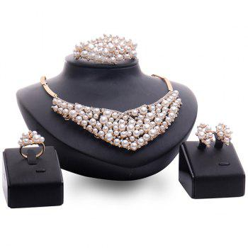 A Suit of Rhinestone Faux Pearl Necklace Bracelet Ring and Earrings