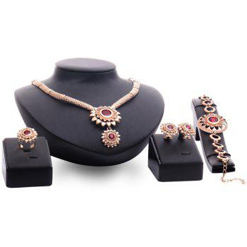 A Suit of Vintage Faux Ruby Sunflower Necklace Bracelet Ring and Earrings For Women