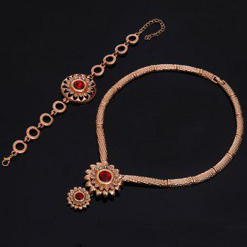 A Suit of Vintage Faux Ruby Sunflower Necklace Bracelet Ring and Earrings For Women - GOLDEN
