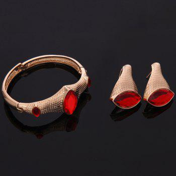 A Suit of Vintage Faux Ruby Snake Necklace Bracelet Ring and Earrings For Women - GOLDEN