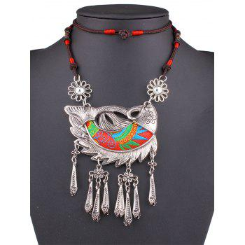 Stylish Lucky Carp Embroidery Necklace - RED RED