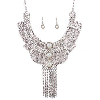 Stylish Faux Pearl Necklace and Earrings - SILVER AND WHITE SILVER/WHITE