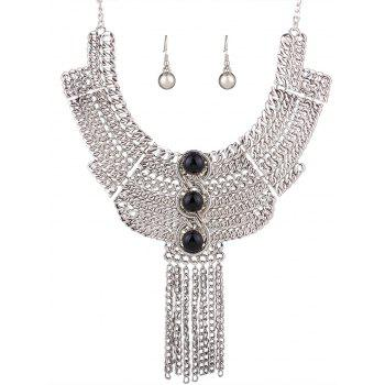 Stylish Chain Fringe Necklace and Earrings - SILVER AND BLACK SILVER/BLACK