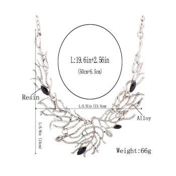 Retro Resin Branch Leaf Necklace -  SILVER