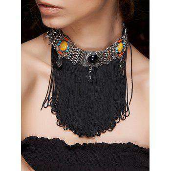 Faux Gem Rope Fringed Choker