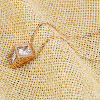 Rhinestone Geometric Rose Gold Pendant Necklace - ROSE GOLD