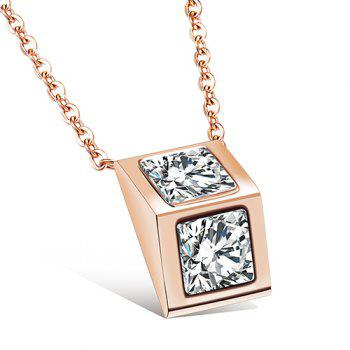 Rhinestone Geometric Rose Gold Pendant Necklace - ROSE GOLD ROSE GOLD