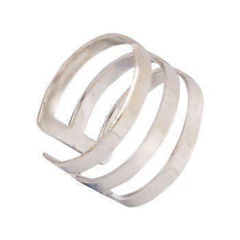 Stylish Solid Color Spring Cage Rings - SILVER