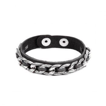 Punk Chain Embellished PU Leather Bracelet For Men