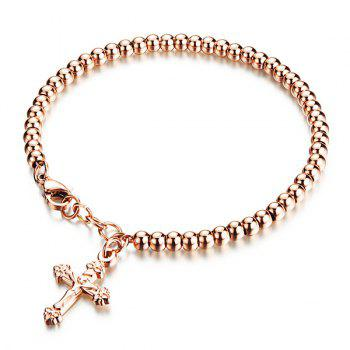 Bead Chain Cross Charm Bracelet