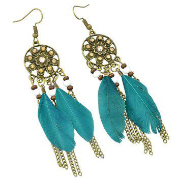 Pair of Retro Style Medallion Feathers Chain Tassel Earrings - TURQUOISE