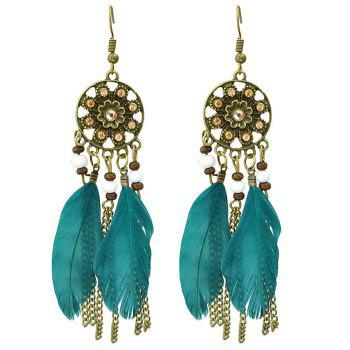 Pair of Retro Style Medallion Feathers Chain Tassel Earrings - TURQUOISE TURQUOISE
