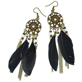 Pair of Retro Style Medallion Feathers Chain Tassel Earrings - BLACK
