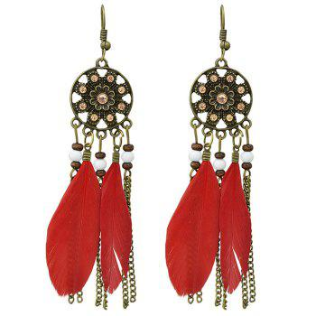 Pair of Retro Style Medallion Feathers Chain Tassel Earrings