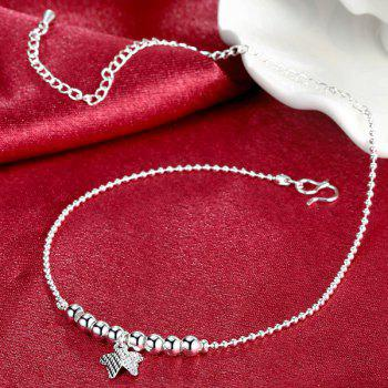 Retro Style Silver Plated Butterfly Beads Charm Anklet For Women - SILVER