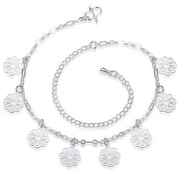 Simple Solid Color Silver Plated Filigree Flower Charm Anklet For Women - SILVER WHITE