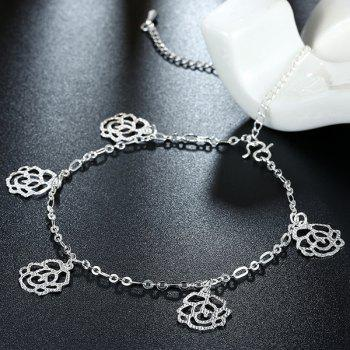 Delicate Hollow Out Solid Color Filigree Rose Charm Anklet For Women - SILVER