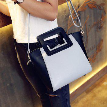 Trendy Snap Button and Color Block Design Women's Tote Bag - GRAY