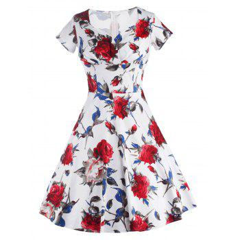 Retro Short Sleeve Sweetheart Neck Women's Pin Up Dress