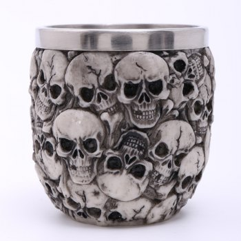 Stylish Carving 3D Skulls Stainless Steel Vodka Wine Cup
