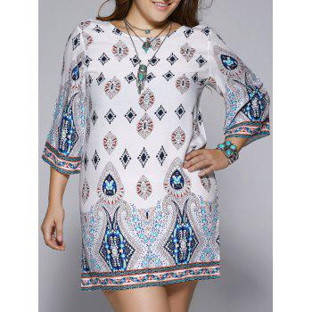 Plus Size Ethnic Print Open Back Shift Dress