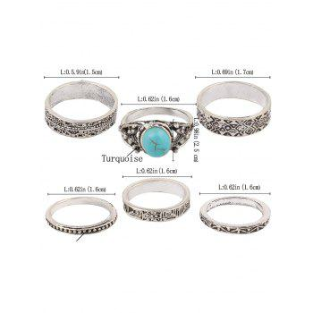 Stylish Faux Turquoise Rings -  SILVER