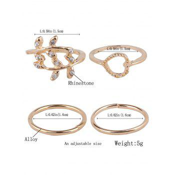 Rhinestone Branch Heart Rings - GOLDEN