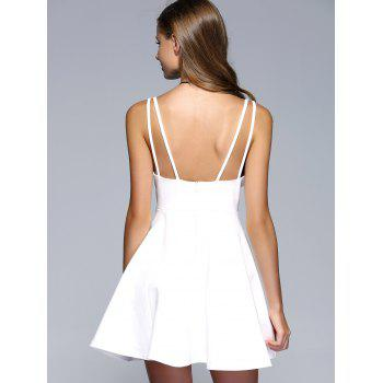 Strappy Backless A-Line Party Skater Dress - WHITE L