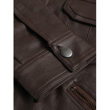Zipper Pockets Epaulet Design Stand Collar Long Sleeve Men's PU-Leather Jacket - COFFEE L