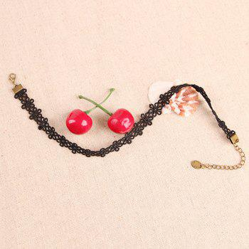 Rock Style Black Flowers Solid Color Choker Necklace For Women - BLACK