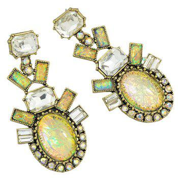 Pair of Rectangle Faux Gemstone Etched Alloy Earrings - CLASSIC GOLDEN