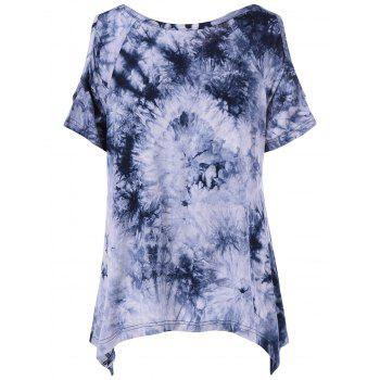 Tie-Dye Cold Shoulder Asymmetrical T-Shirt - COLORMIX S
