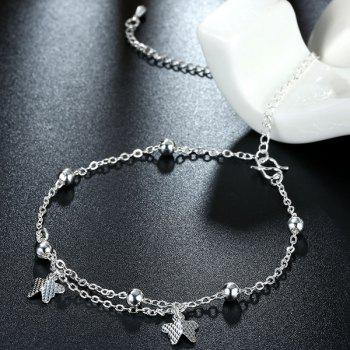 Fancy Filigree Butterfly Shape Silver Plated Charm Anklet For Women - SILVER