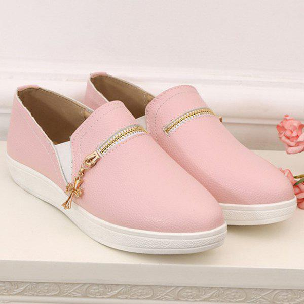 Simple Round Toe and Zipper Design Women's Flat Shoes - PINK 38