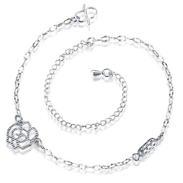 Vintage Filigree Hollow Out Rose Silver Plated Anklet For Women