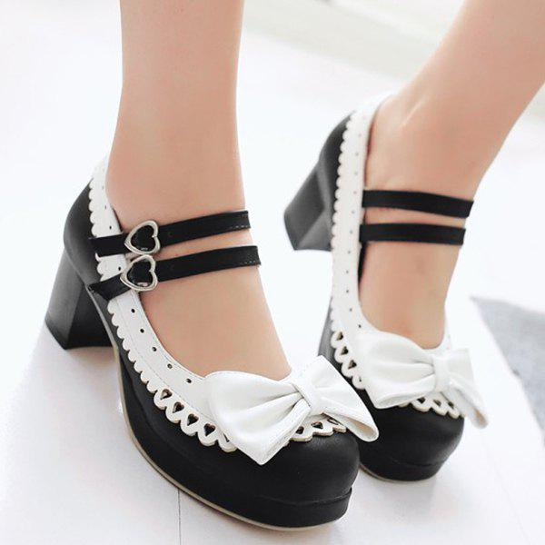 Trendy Color Splicing and Bowknot Design Women's Pumps - BLACK 38