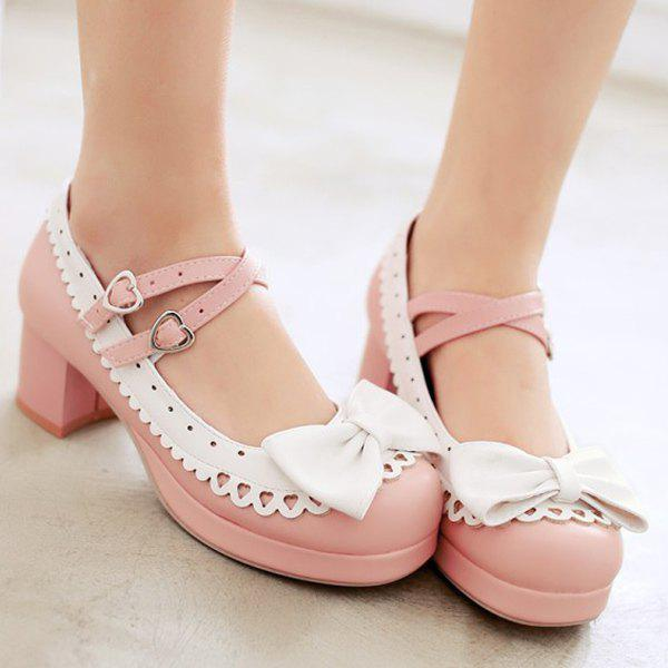 Trendy Color Splicing And Bowknot Design Womens Pumps