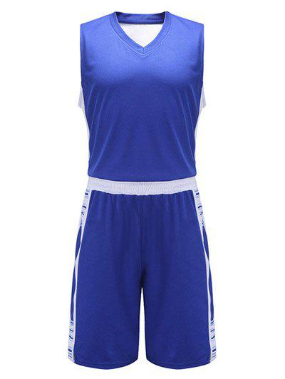 Color Block Spliced V-Neck Sleeveless Sport Suit ( Tank Top + Shorts ) - SAPPHIRE BLUE 5XL