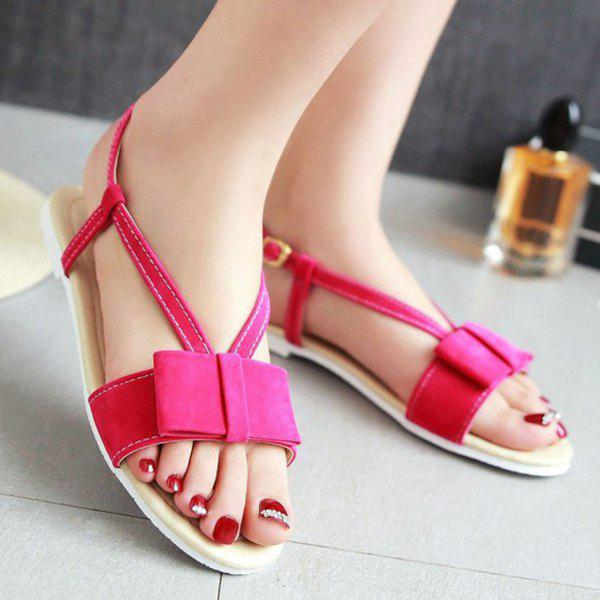Simple Style Bow and Flat Heel Design Women's Sandals - ROSE MADDER 38