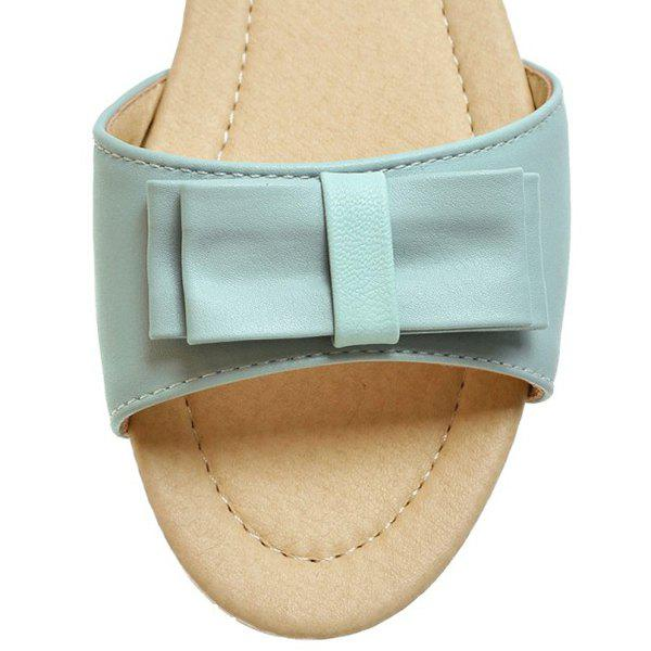 Leisure Bowknot and Color Splicing Design Women's Sandals - LIGHT BLUE 37