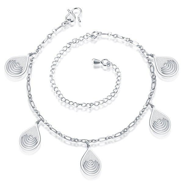 Cut Out Filigree Teardrop Charm Anklet - SILVER