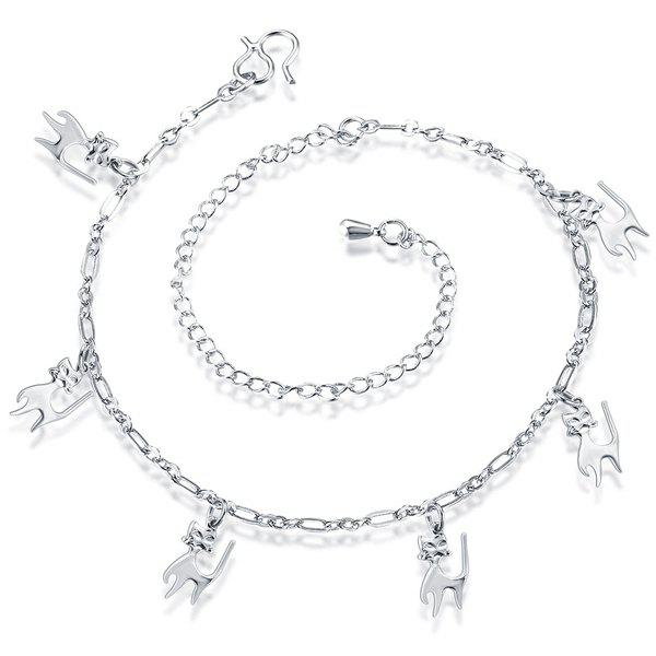 Delicate Filigree Silver Plated Solid Color Cat Shape Charm Anklet For Women - SILVER