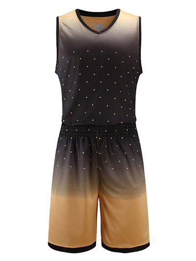 Ombre Polka Dot Print V-Neck Sleeveless Sport Suit ( Tank Top + Shorts ) - KHAKI XL