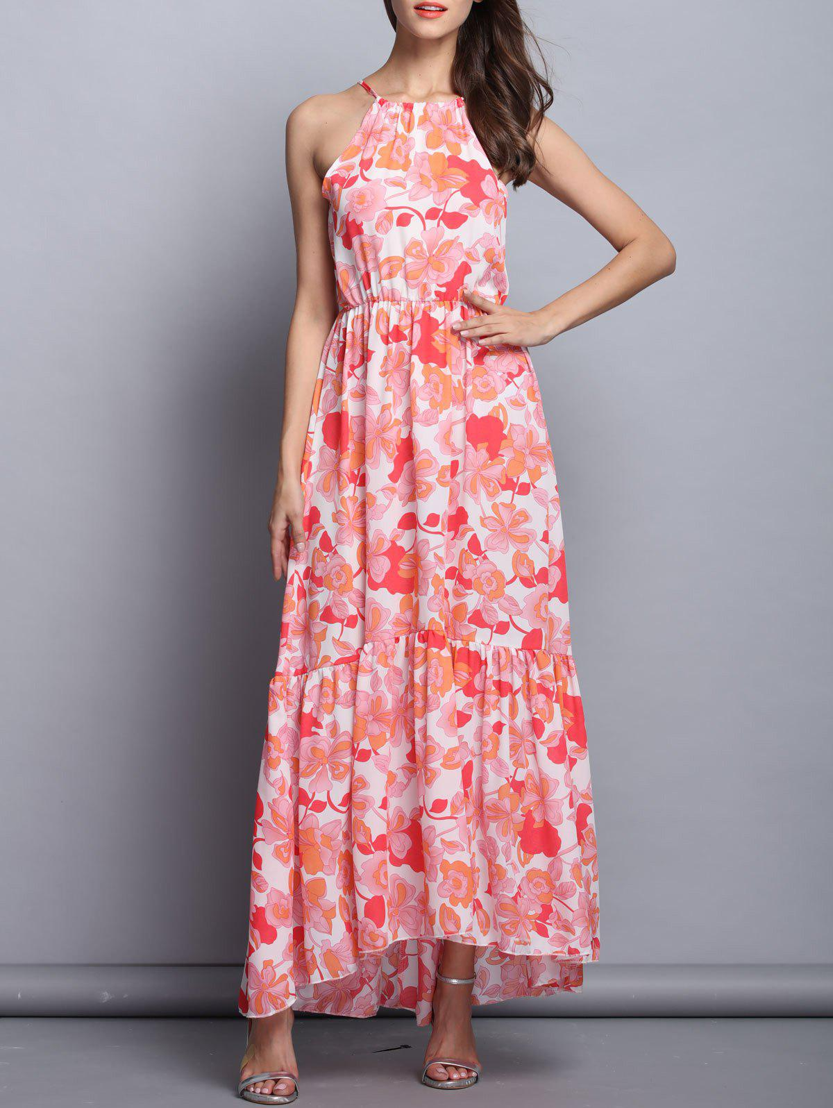 Charming Spaghetti Strap Floral High Low Maxi Dress For Women