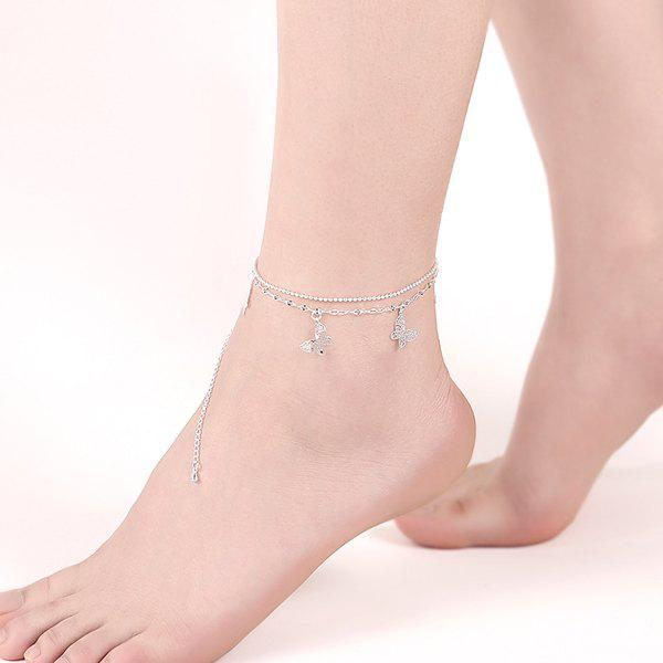 Multilayered Butterfly Tassel Charm Anklet - SILVER