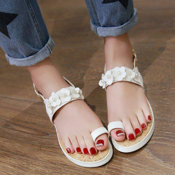 Casual Flower and Faux Pearls Design Women's Sandals - WHITE 37